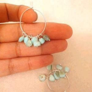 Light blue stone earrings, brand new!